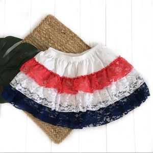 4T red white blue patriotic ruffle lace skirt